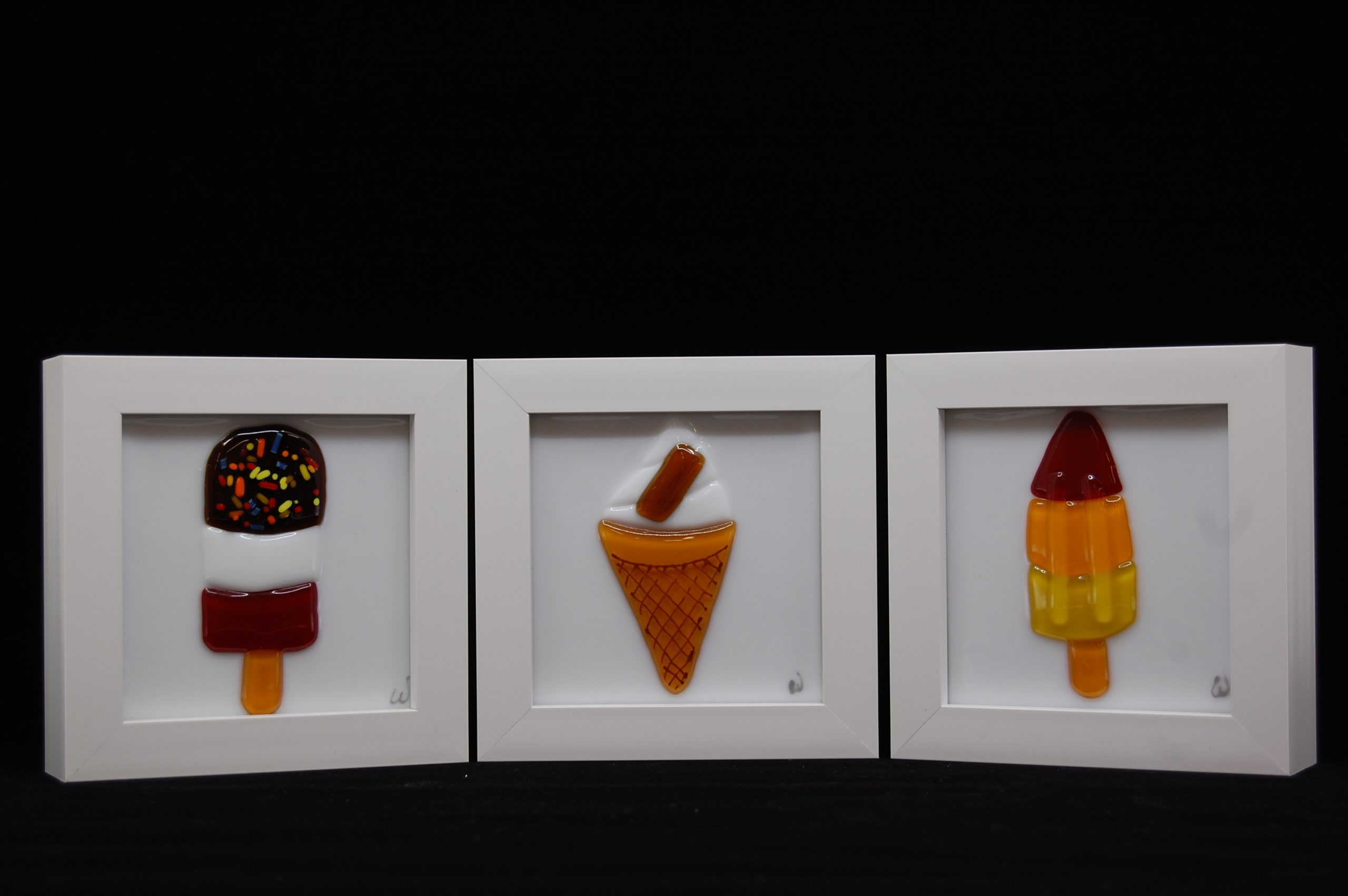 Rocket Ice Lolly Fused Glass Picture