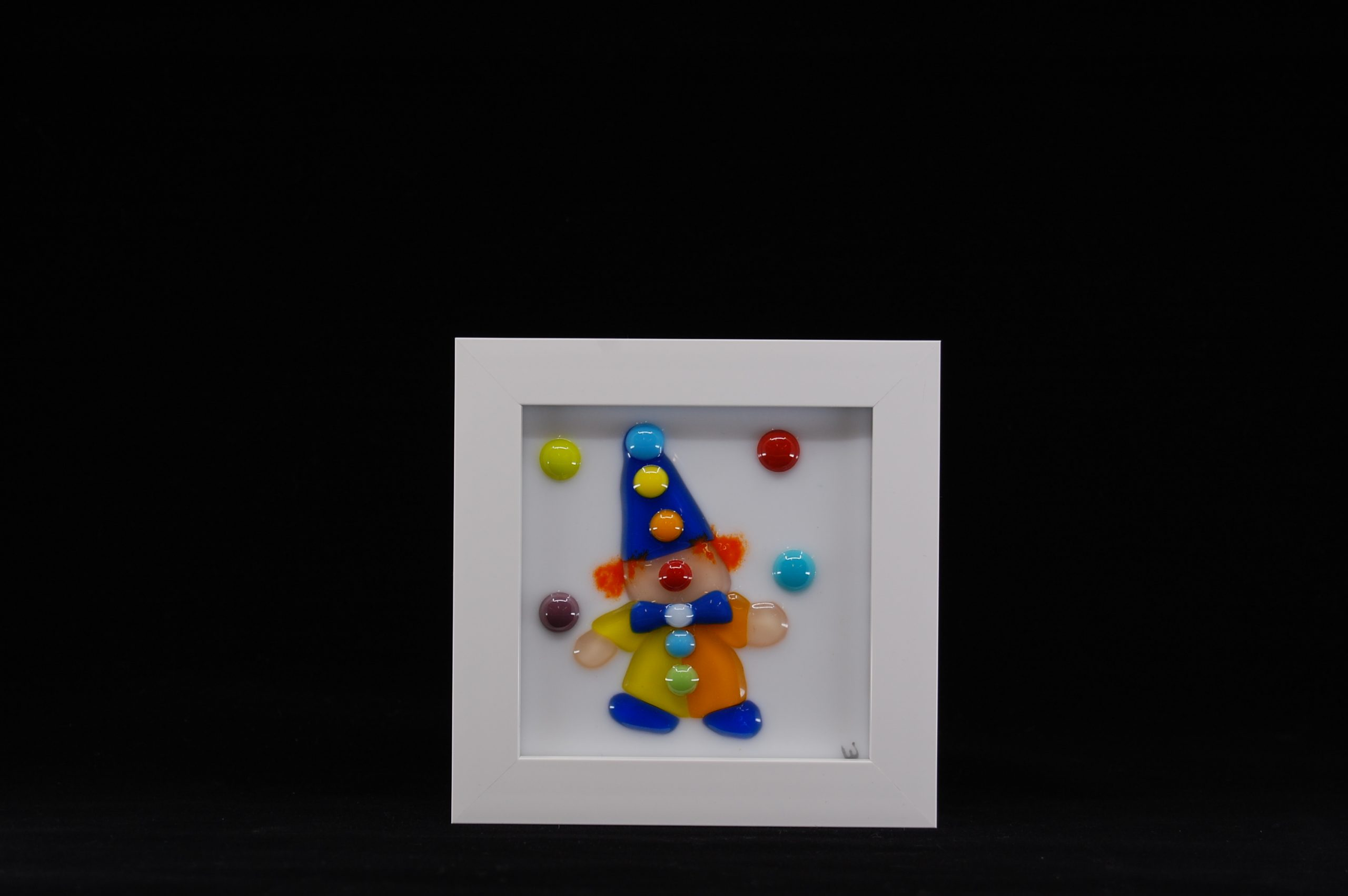 Juggling Clown Fused Glass Picture