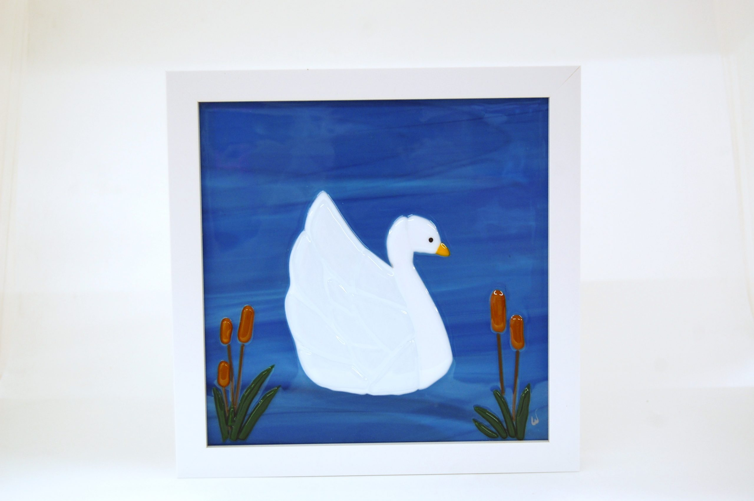 Swan Fused Glass Picture